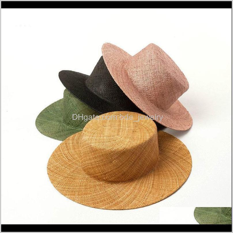 حافة واسعة قبعات القبعات، والأوشحة قفازات ولديز الأزياء الصلبة بنما قبعات للنساء الوردي شاطئ قبعة الثمينة العشب الصيف شقة شقة كاب wh