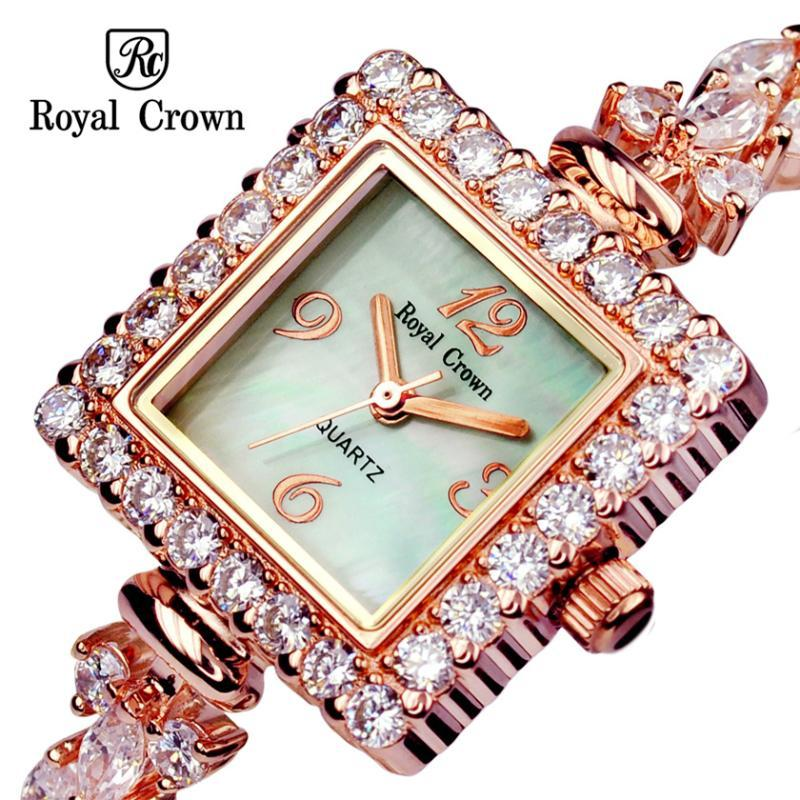 Wristwatches ROYAL CROWN LADY WOMEN'S WATCH JAPAN QUARTZ JEWELRY HOURS FINE FASHION SETTING CRYSTAL BRACELET LUXURY RHINESTONES GIRL GIFT