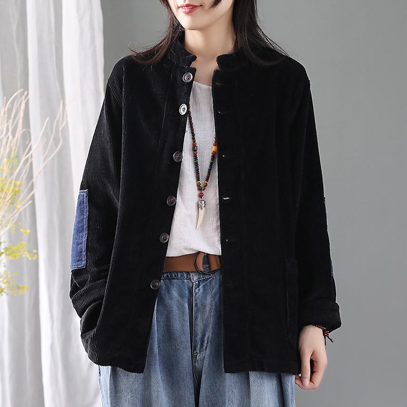 Rahat Moda Ceket Kadın Patchwork Cepler Hırka 2021 Sonbahar Kış Kadın Ceketler Kadife