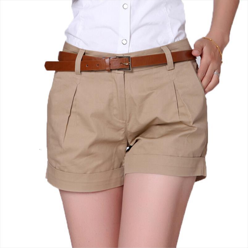 Korea Style Summer Casual Women Shorts Plus Size S 2xl Fashion Design Lady Short Solid Color Khaki White Kh804247