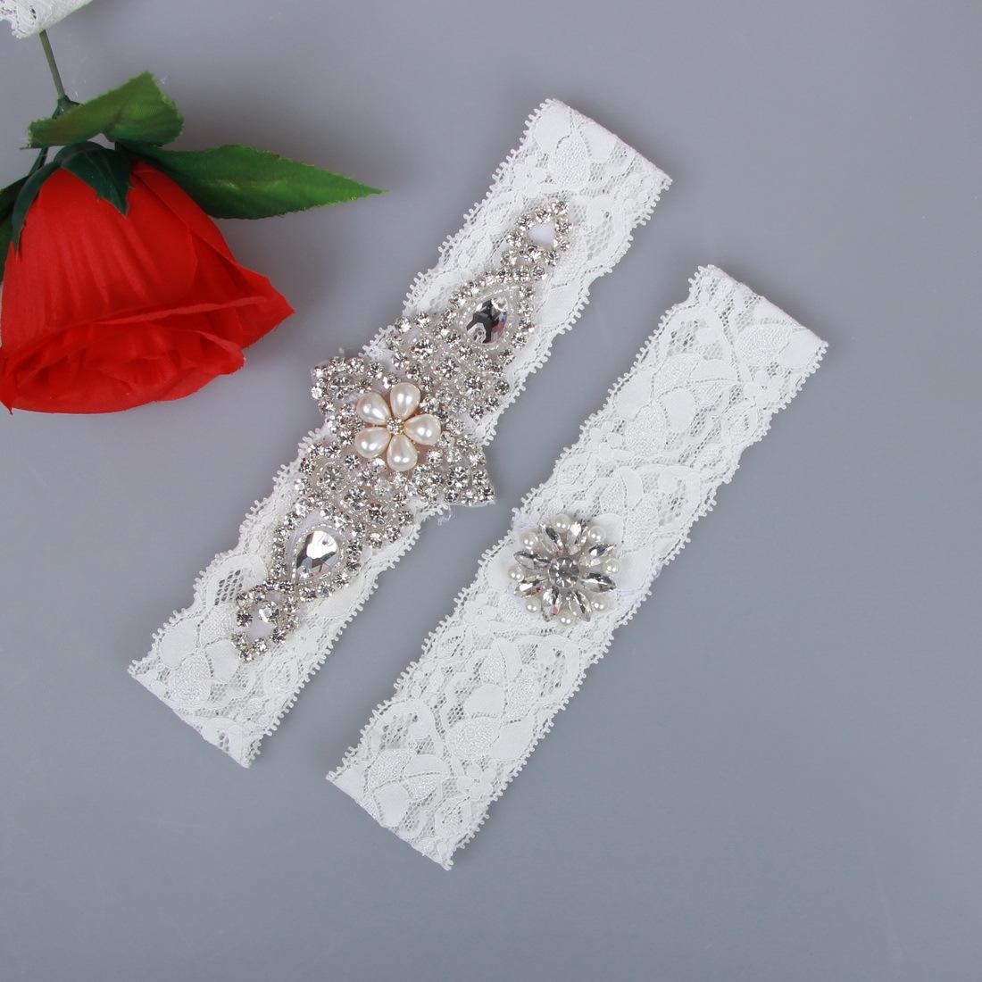 Sexy Bridal Garters Lace Rhinestones Pearls Vintage Handmade Wedding Garter Set With Bridal Leg Garter Belt Beads Plus Size