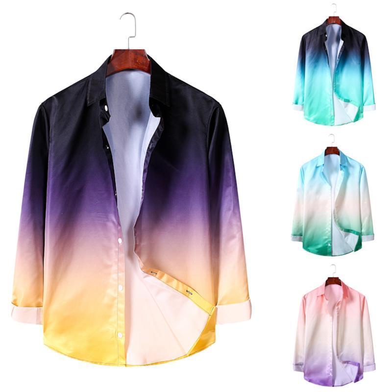 패션 남자 그라디언트 색상 2021 스타일 옷깃 긴 소매 단추 슬림 탑 캐주얼 셔츠 자켓 봄 의류