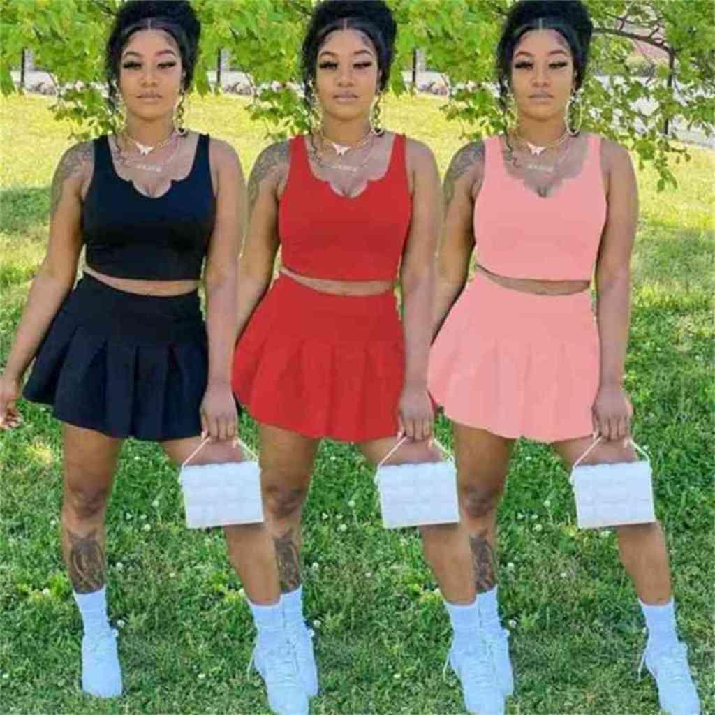 플러스 사이즈 여성용 트랙 슈트 캐주얼 섹시한 단색 컬러 오픈 허리 U 넥 슬림 맞는 티셔츠 반바지 스커트 스포츠 2 조각 세트 복장 G4W69A3