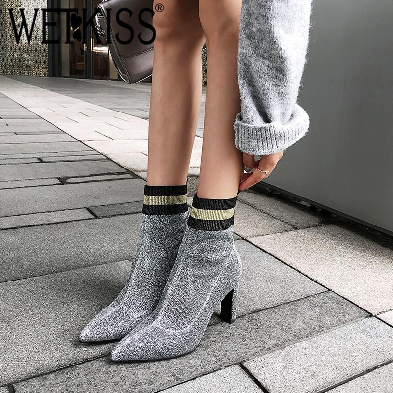 Botas Wetkiss High Saltos Mulheres tornozelo Apointed Tee Calçado de Borracha Esticão Feminino Boot Bling Shoes Mulher 2021 Outono