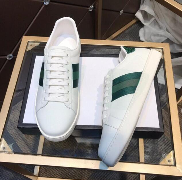 디자이너 여름 남성 여성 캐주얼 신발 클래식 화이트 스트라이프 신발 캔버스 splicing 스 니 커 즈 동물 자수 트레이너 크기 35-46 상자