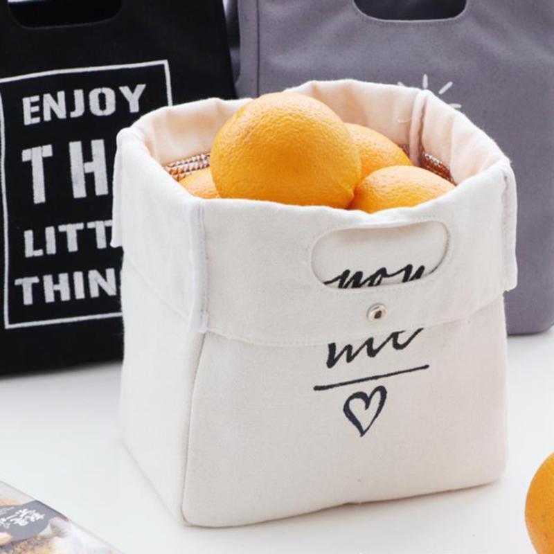 캔버스 도시락 상자 절연 가방 간단한 편지 유형 대용량 다목적 천으로 식품 주최자 피크닉