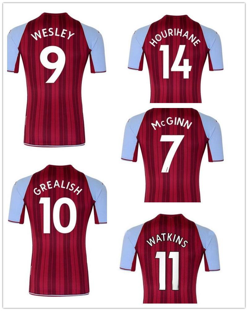 Personalizado 21-22 Home Thai Quality Soccer Jersey Yakuda Local Online Tienda Dropshipping aceptada Grealish # 10 Wesley # 9 McGinn # 7 Use Kits de los hombres de fútbol