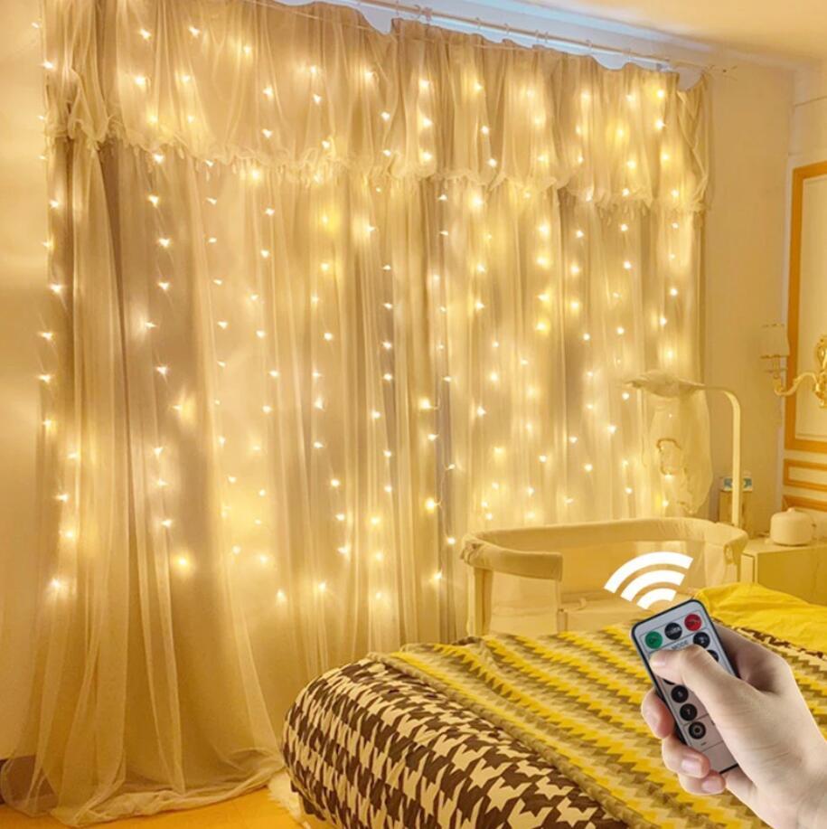 Guirnalda de cortina LED 3M en la ventana USB String luces Festón de hadas con la decoración de vacaciones de boda de Navidad remota para el hogar DHL