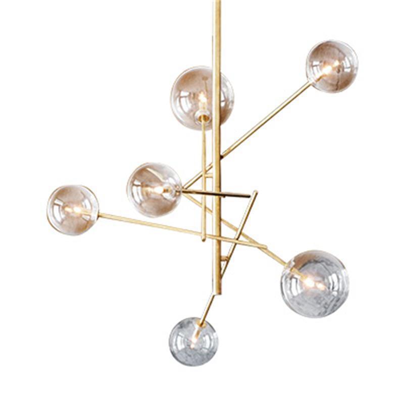 현대 럭셔리 LED 샹들리에 골드 유리 거품 디자이너 램프 미니멀 아트 장식 다이닝 룸 레스토랑 매달려 조명 샹들리에