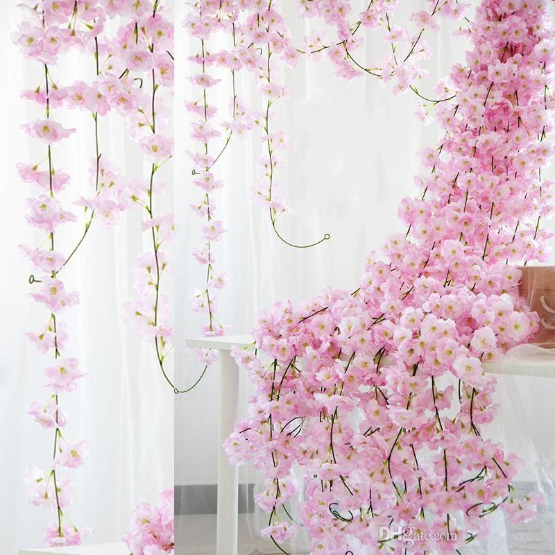 "70"" / 1.8M Artificial Cherry Blossom Hanging Vine Silk Flowers Garland Fake Plants Leaf For Home Wedding Decor 100pcs/lot Decorative & Wreat"