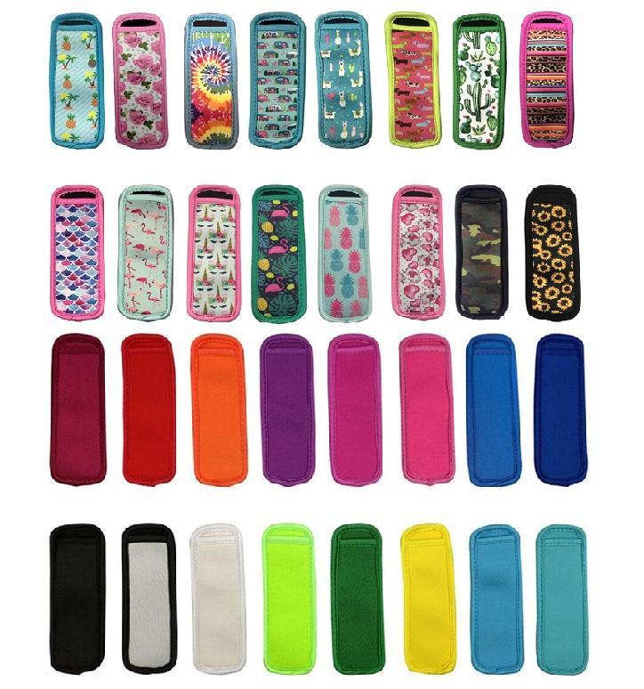 32 cores Antifreezing Picolés Sacos Ferramentas Keychain Congelador Gelo Pólo Picksicle Suportes Reusável Neoprene Isolamento Ice Mangas Saco Para Crianças Verão