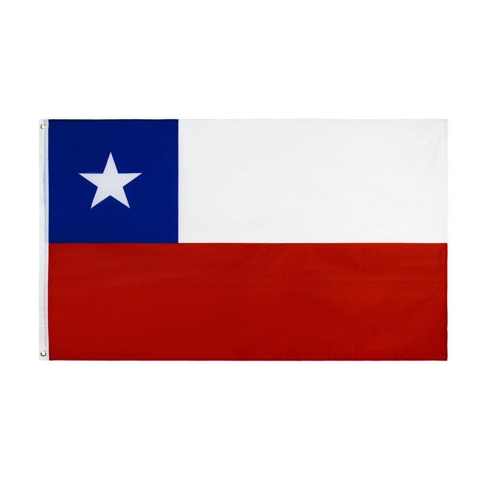 Chile Natinal Flag Retail Direkte Fabrik Großhandel 3X5FTs 90x150cm Polyester Banner Indoor Outdoor Usedage Leinwandkopf Mit Metall Tülle