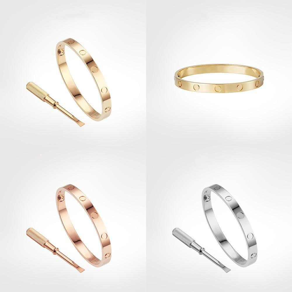 Braccialetti del braccialetto tititanium per lover moda Braccialetti di nozze Braccialetti d'oro rosa Giorno del ringraziamento Braccialetto con scatola Set Dimensione 15-21 cm