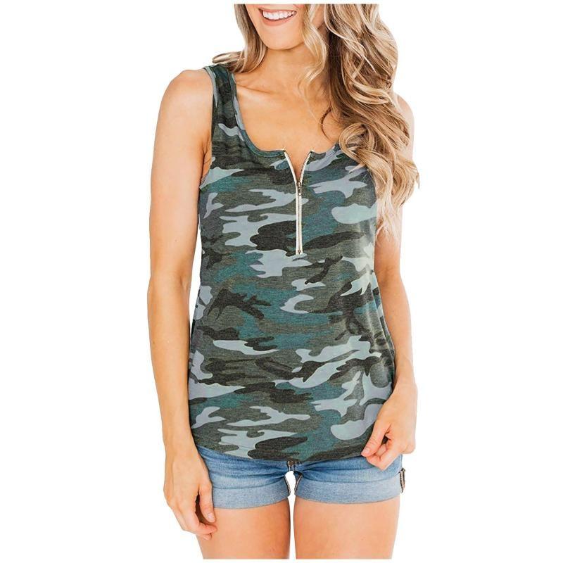 Женские танки V-образное вырезок Top Zipper Летние свободные топы без рукавов Негабаритный Повседневный стиль Camis Vest Упругие женские камуфляж