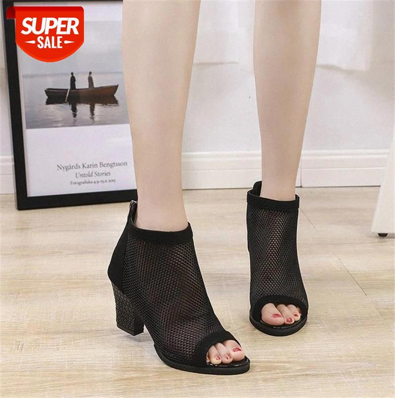 Breathable Mesh Women Shoes Summer Fashion Sandals Square Heel High Heels Chunky Peep Toe Zip Short Ankle Pumps #F89v