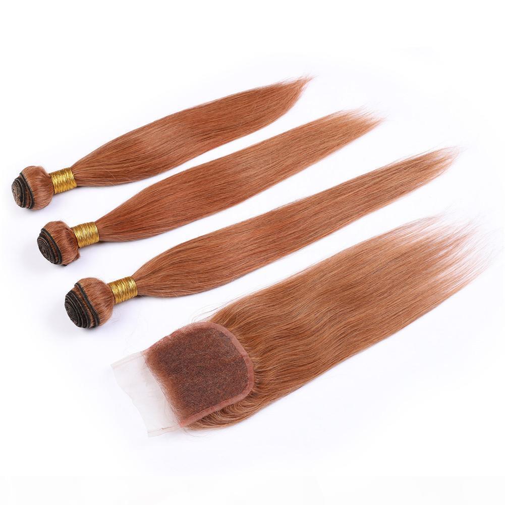 Silky Straight Peruvian Medium Auburn Human Hair Weave Bundles with Closure #30 Light Brown Virgin Hair Wefts with Lace Closure Piece 4x4