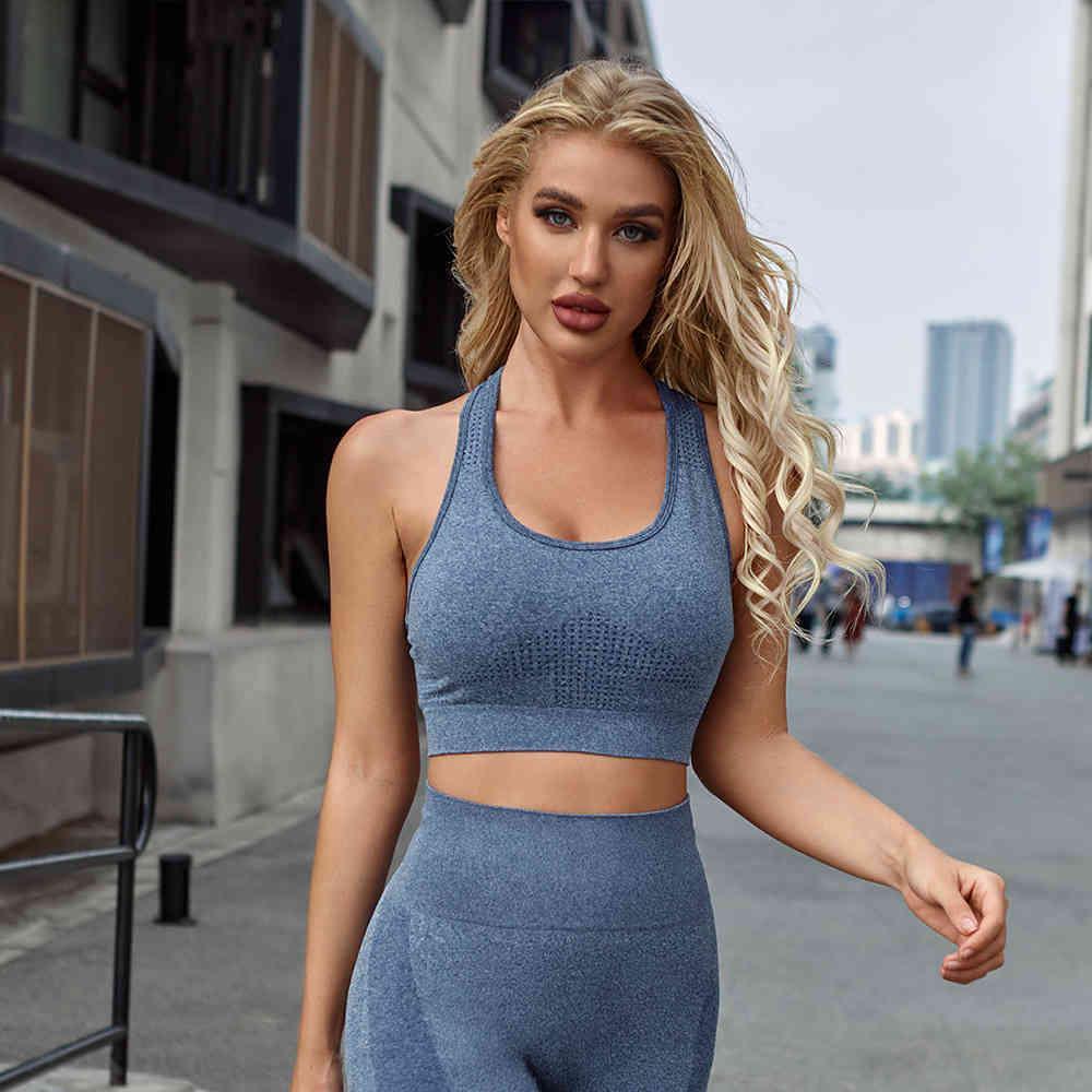 Yoga 2021 nuovo assorbimento di umidità fitness senza soluzione di continuità e movimento di sudorazione stretto sexy reggiseno da corsa femmina