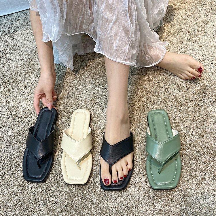 Sandals Luxury Designer Women Shoes Square Toe Womens Slippers Roman Style Ladies Summer Flats Plus Size