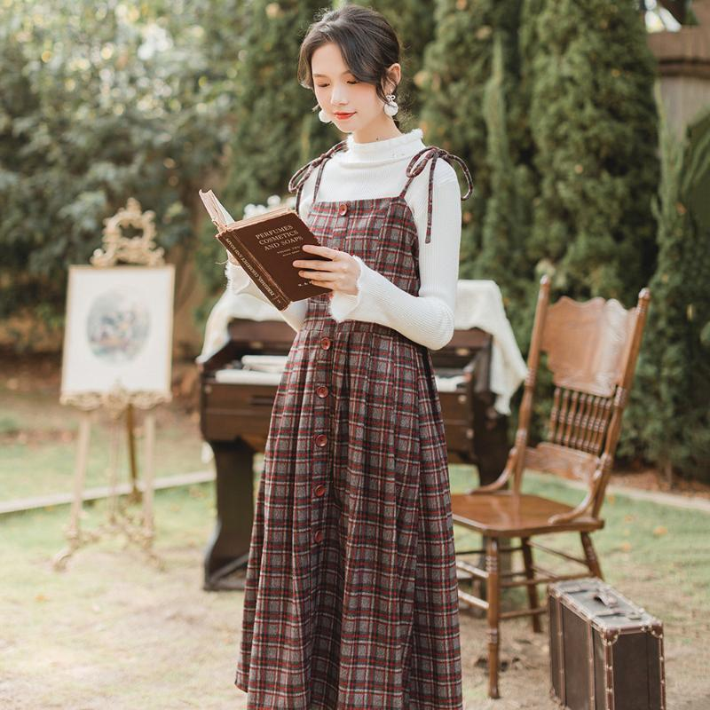 Women's Tracksuits Women Sweater Strap Dress Two Piece Sets 2021 Style Pullover Long Sleeve A-Line Silhouette Mid-Calf Length Skirt Suit