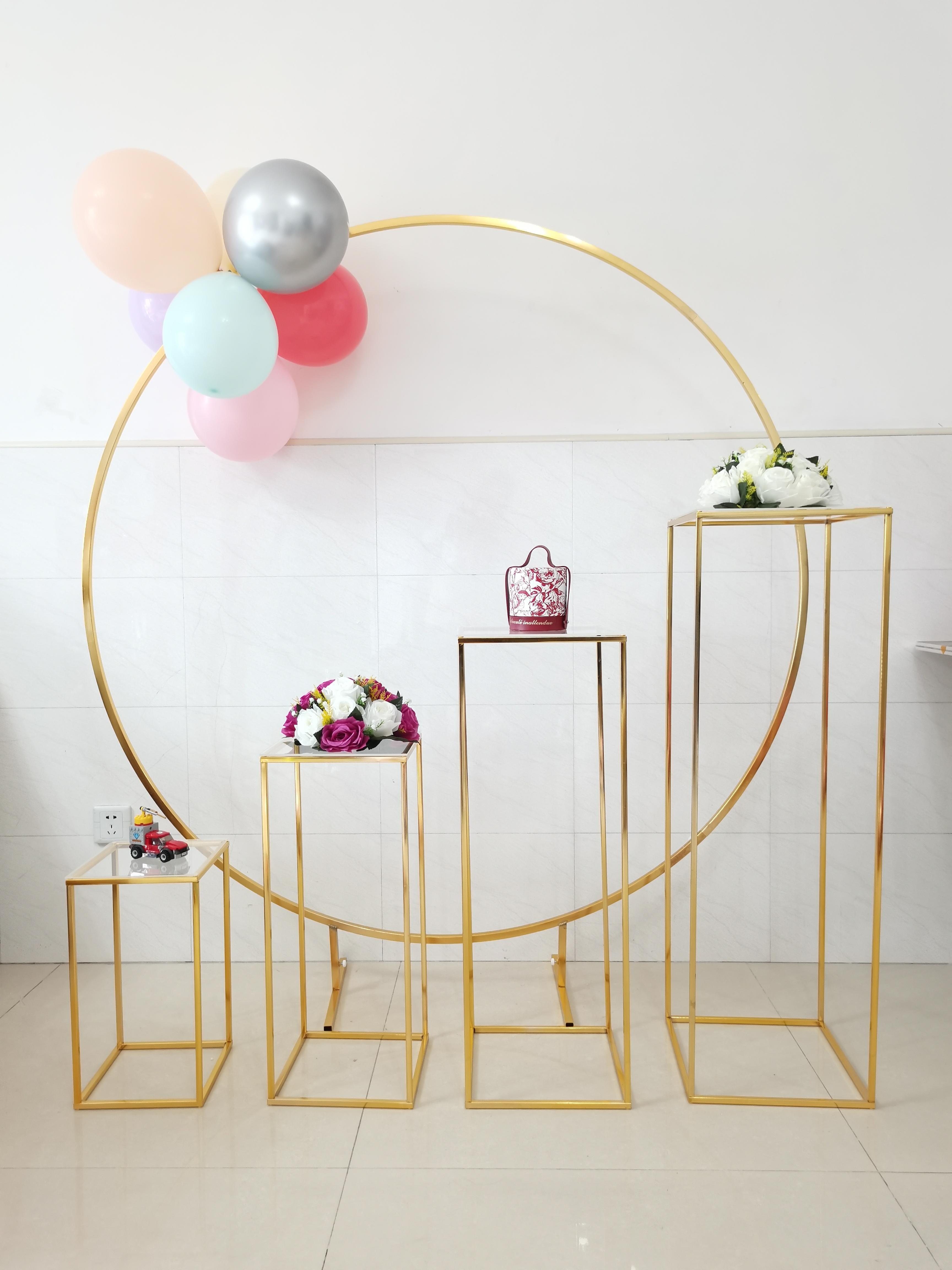 5 pcs decoração de casamento ouro decoração ao ar livre flor plinths tabela corredor ferro círculo festa de aniversário arco pano de fundo para balão faixa brinquedos artesanato diy floral rack