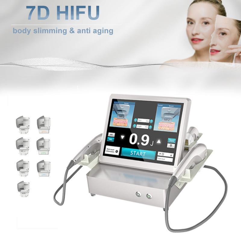 HIFU آلة تشكيل رفع الوجه لجسم الوجه مكافحة الشيخوخة إزالة التجاعيد الصالون بالموجات فوق الصوتية مع 7 خراطيش