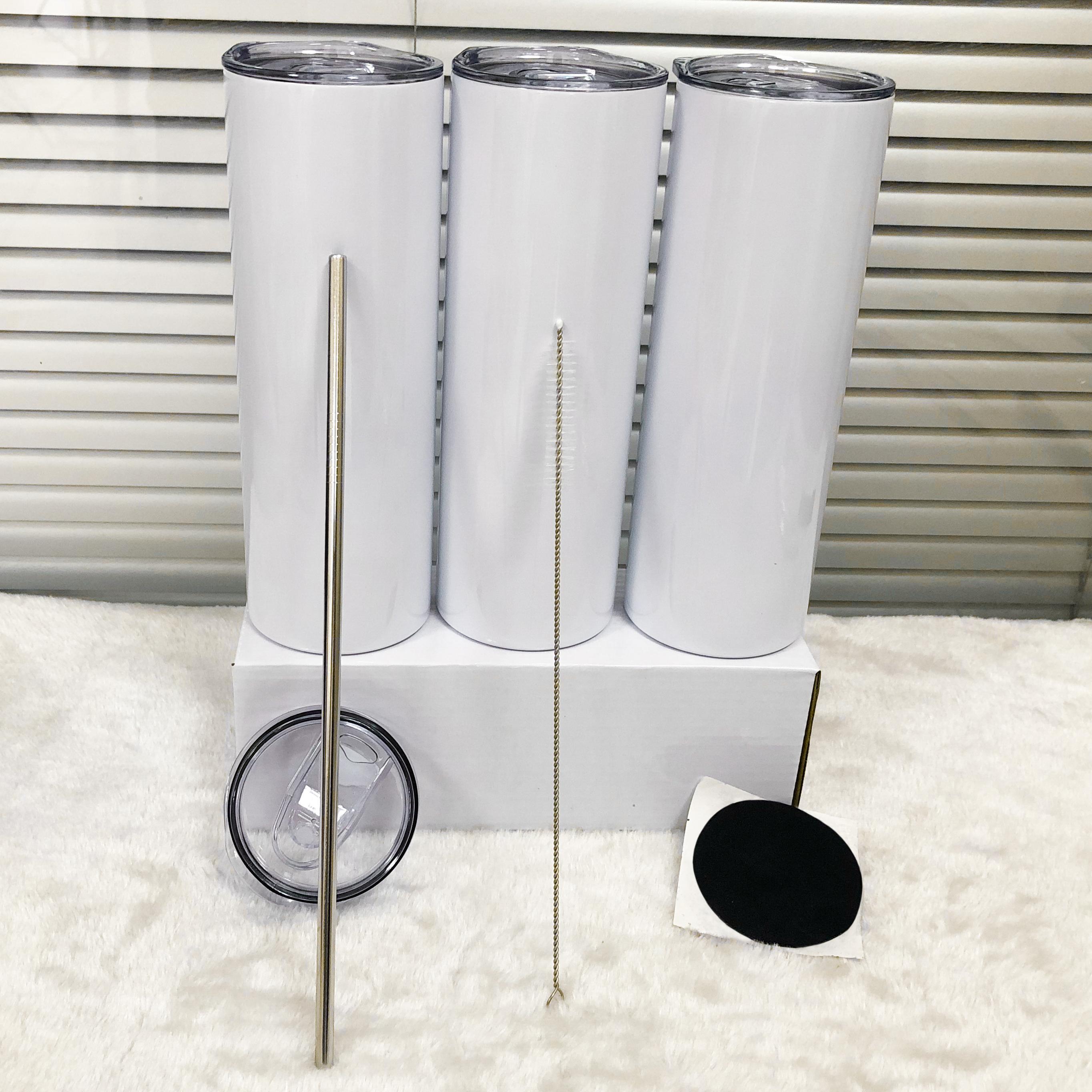 20OZ SULLIMATION Gerade Tumbler Leere weiße dünne Edelstahlbecher 20 oz Vakuum isolierte doppelwandige Becher und Kunststoffhalm