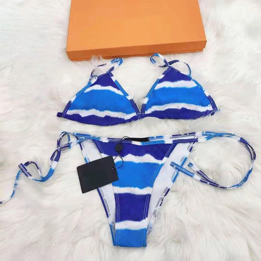 2021 Traje de baño para mujer Bikinis para mujer Swimsuits Sexy transpirable Carta Impresión Ligero Contraste Ligero Color 2 pieza Set Summer Beach