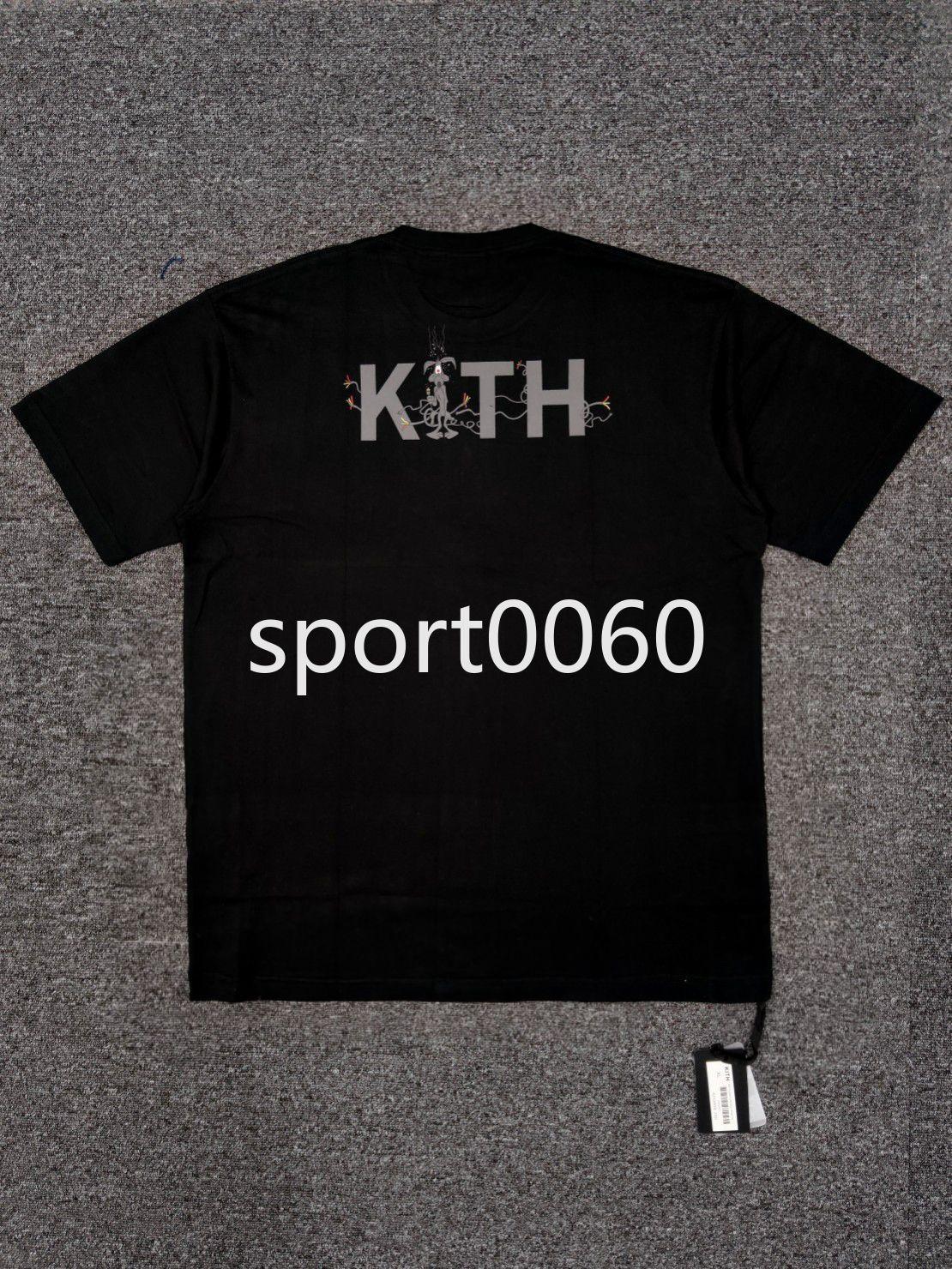 Kith New Back Shadow Письмо Печать ошибок BUNNY Объединенное имя Высокая улица Maychao Круглая шея Свободные Короткие Футболка