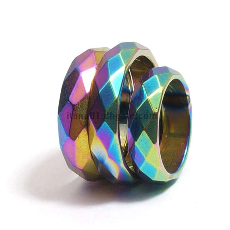 Wholesale Rainbow Faceted Hematite Ring,That Negative Energy Absorber,Magnetic Black Gemstone Band Rings for Women Men,Trend jewelry