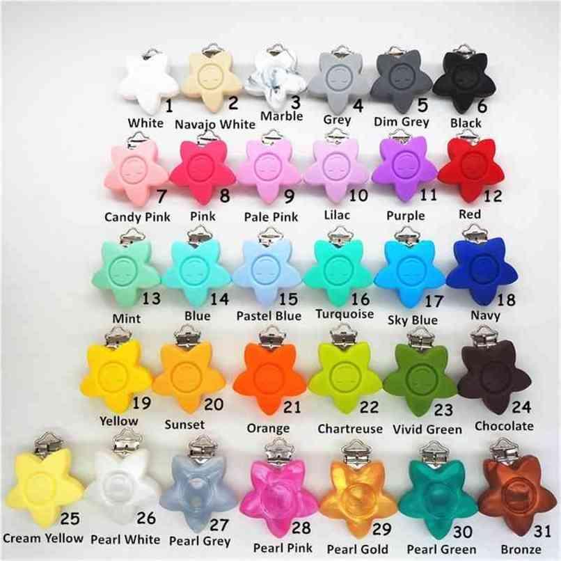 Chenkai 10 adet BPA Ücretsiz Silikon Çiçek Gülümseme Yüz Emzik Kukla Teether Tutucu Klipler DIY Yıldız Bebek Hemşirelik Oyuncak Klip Aksesuarları 210407