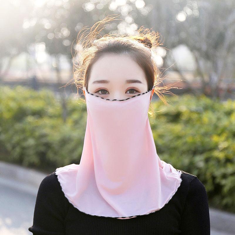 Peçe güneş koruyucu buz ipek kadın asılı kulak yüz maskesi UV koruma yaz boyun örtüsü