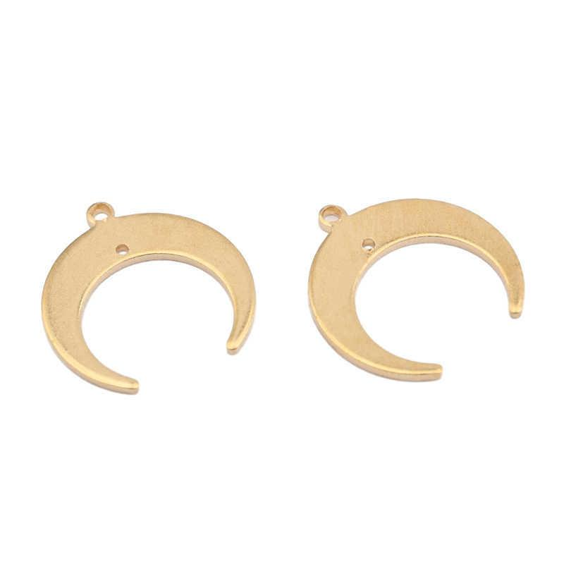 10 stücke Mond Charms Rohe Messing Horn Halbmond Ohrringe Charms Halskette Anhänger Für DIY Schmuckherstellung Handgemachte Lieferungen Zubehör A0603