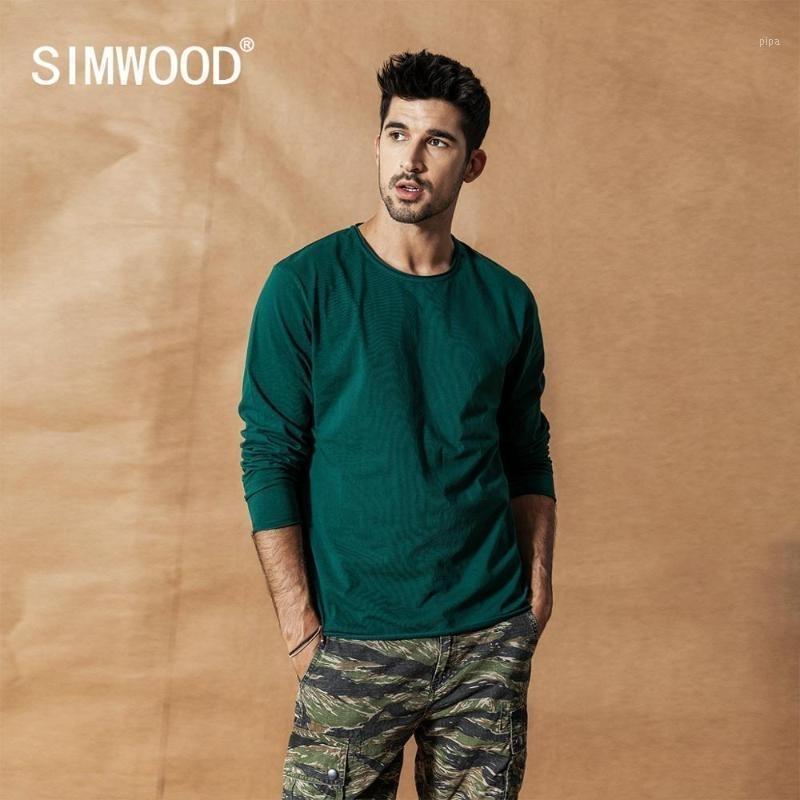 Simwood 2019 autunno inverno nuovo manica lunga t shirt maglietta da uomo roll orlo t-shirt texture qualità 100% cotone Tops SI9805851