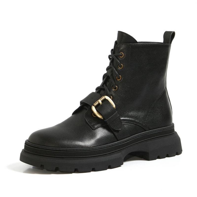 Esveva 2021 пряжка повседневная площадь Низкий каблук PU + кожаные ботинки лодыжки платформы круглые носки женские сапоги обувь размер платформы размером 34-3912