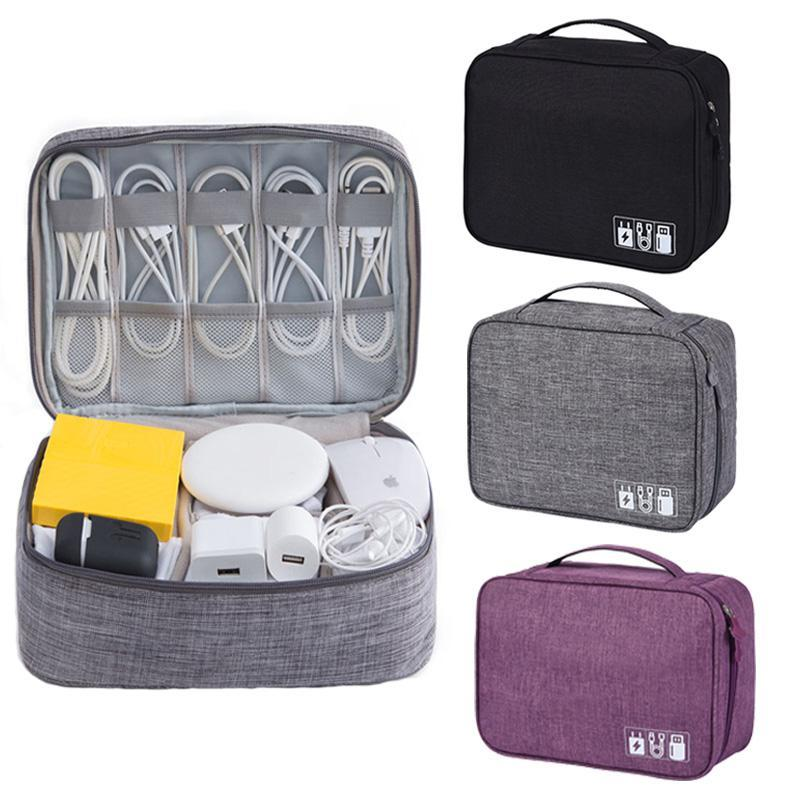Storage Bags Waterproof Phone Charger Cable Bag Large Capacity Digital USB Gadgets Earphones Organizer Case Zipper Cosmetic Cases