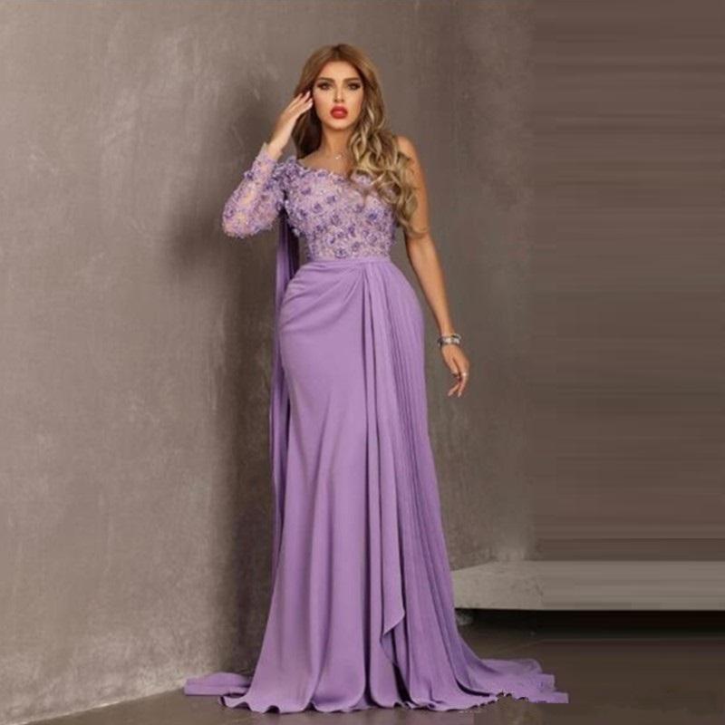 Light Purple One Shoulder Evening Dresses Unique Design Long Prom Dress for Special Occasions Custom Made
