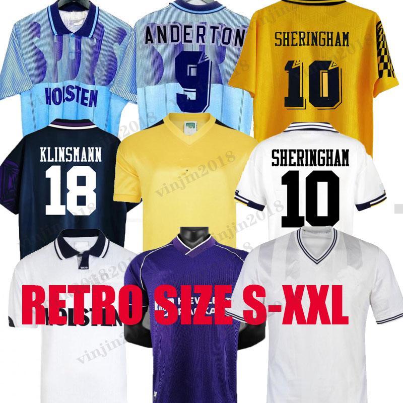 1982 1990 1991 1991 1994 1994 1998 1999 توتنهام ريترو بيل كرة القدم جيرسي توتنهام Klinsmann Gascoigne Anderton Sheringham 91 92 94 95 الكلاسيكية قميص الزي الرسمي