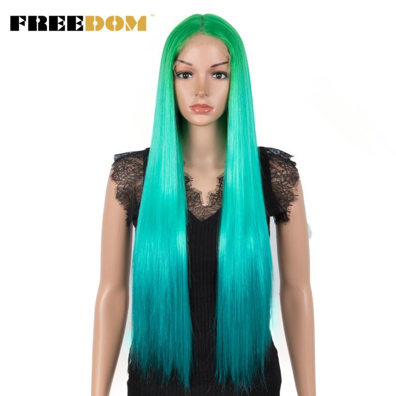 Synthetic Wigs For Black Women Green Color Hair Long Straight 30inch Heat Resistant Fiber Cosplay