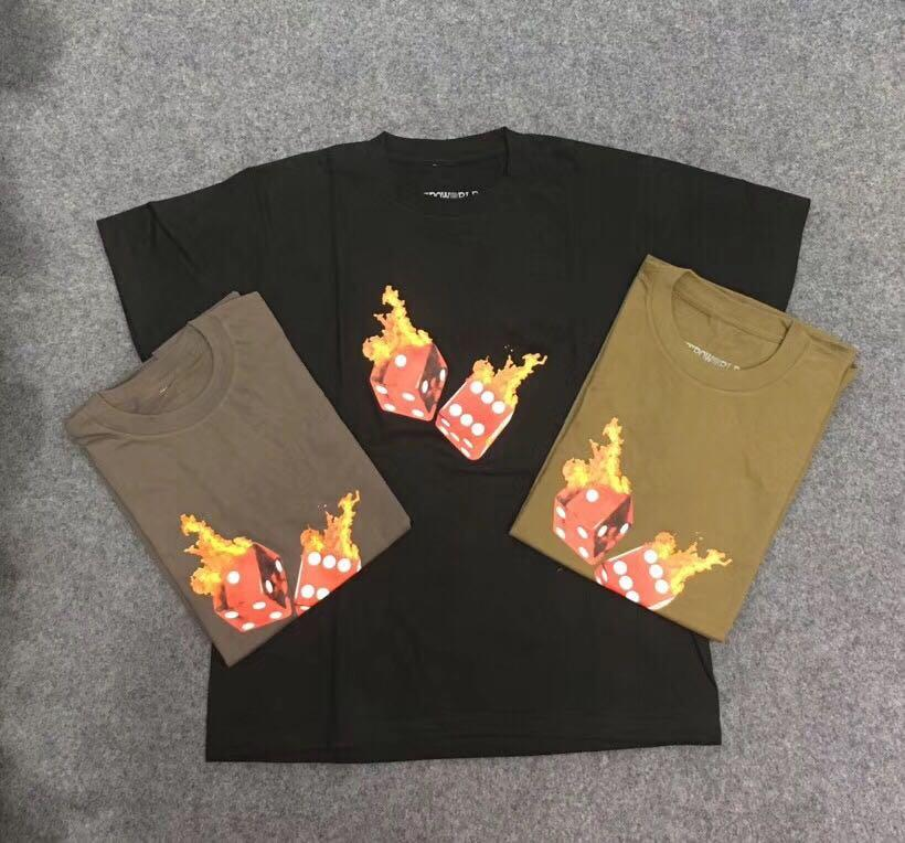 T-shirt da uomo T-shirt Mens T Shirt Astroworld Tour Dice Flame Rap High Street Manica Corta Top Casual Fashion Abbigliamento maschile