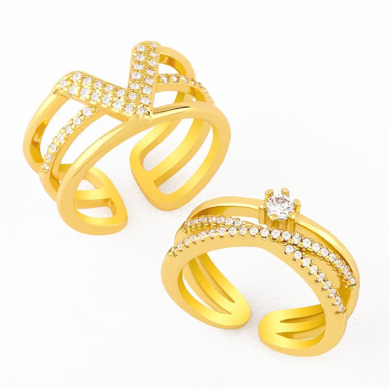 디자이너는 여성 패션 라인, 다이아몬드 테일 링, 간단한 3 층 개방, 조정 가능한 링 RIJ86