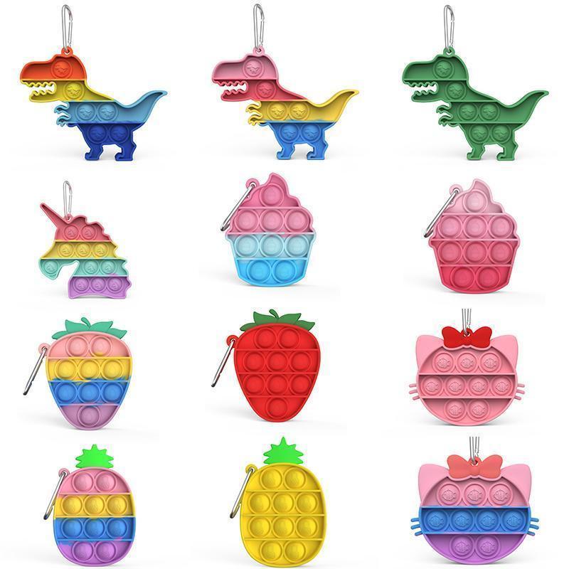 Fidget Toy Finger Bubble Unicorn colori Portachiavi spinta agitarsi silicone di decompressione Giocattoli ci vuole con il vostro, ci si può rilassare in qualsiasi momento se voi stessi siete annoiati