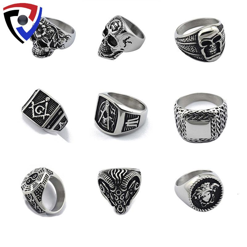 Ring mysterious Masonic skeleton ghost personality titanium steel domineering ring men