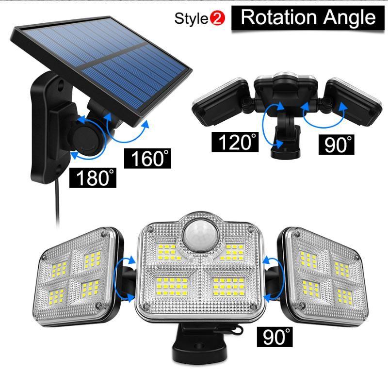 Solarlampen LED-Leuchten im Freien 3 Kopf Bewegungssensor 270 ° Weitwinkelbeleuchtung super helle wasserdichte Fernbedienung Wandlampe
