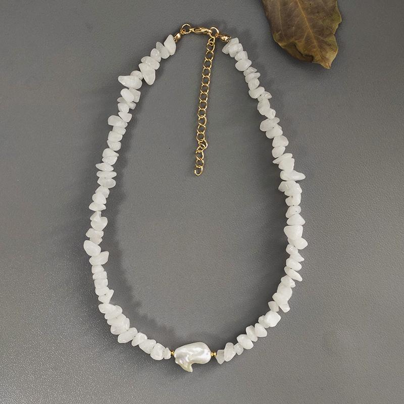 Bohemian Trend Crushed Necklace Irregular Stone Neck Accessories Gift for Friends Natural Pearl Pendant Jewellery