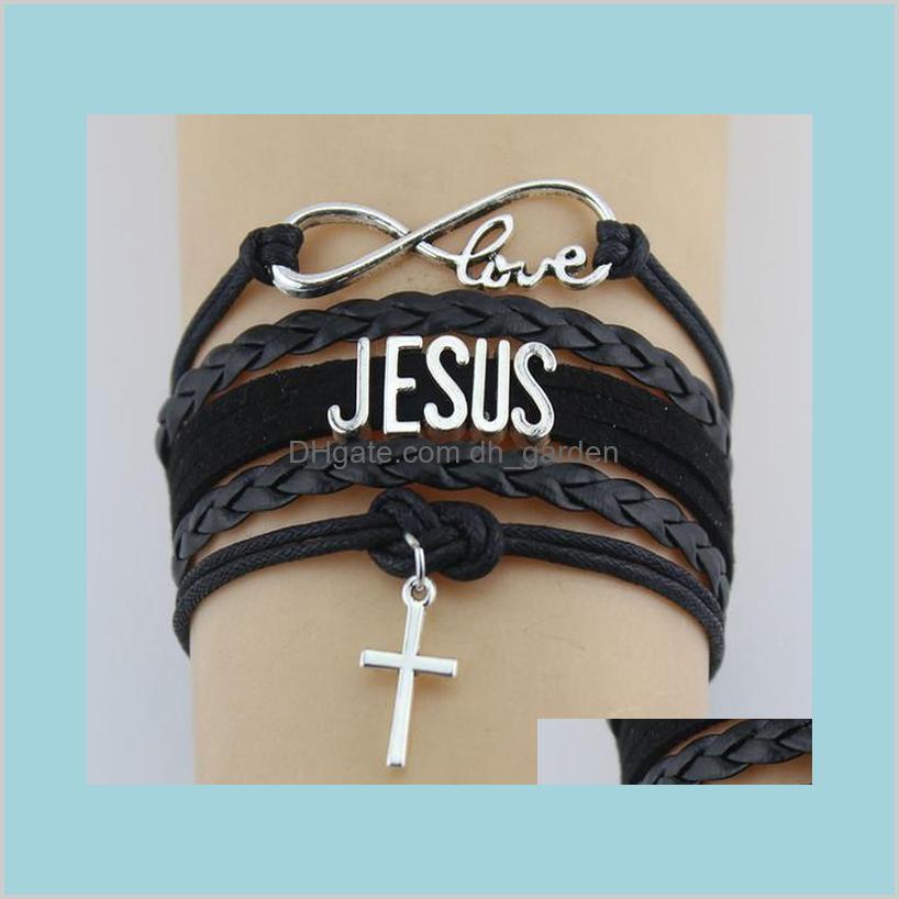 اللانهاية الحب يسوع الصليب الدينية الإيمان الجلود التفاف حبل الرجال أساور للنساء مجوهرات TQNY2 R13JK
