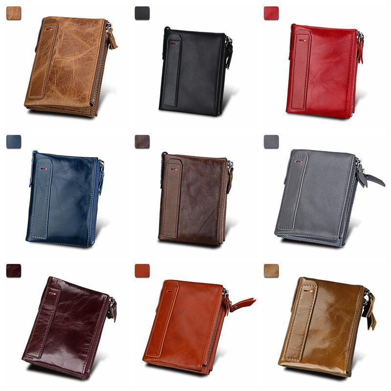 Mens Wallet double zipper RFID Blocking card wallet for men Minimalist Vintage Genuine Cowhide leather Organization Storage Bags HHF6331
