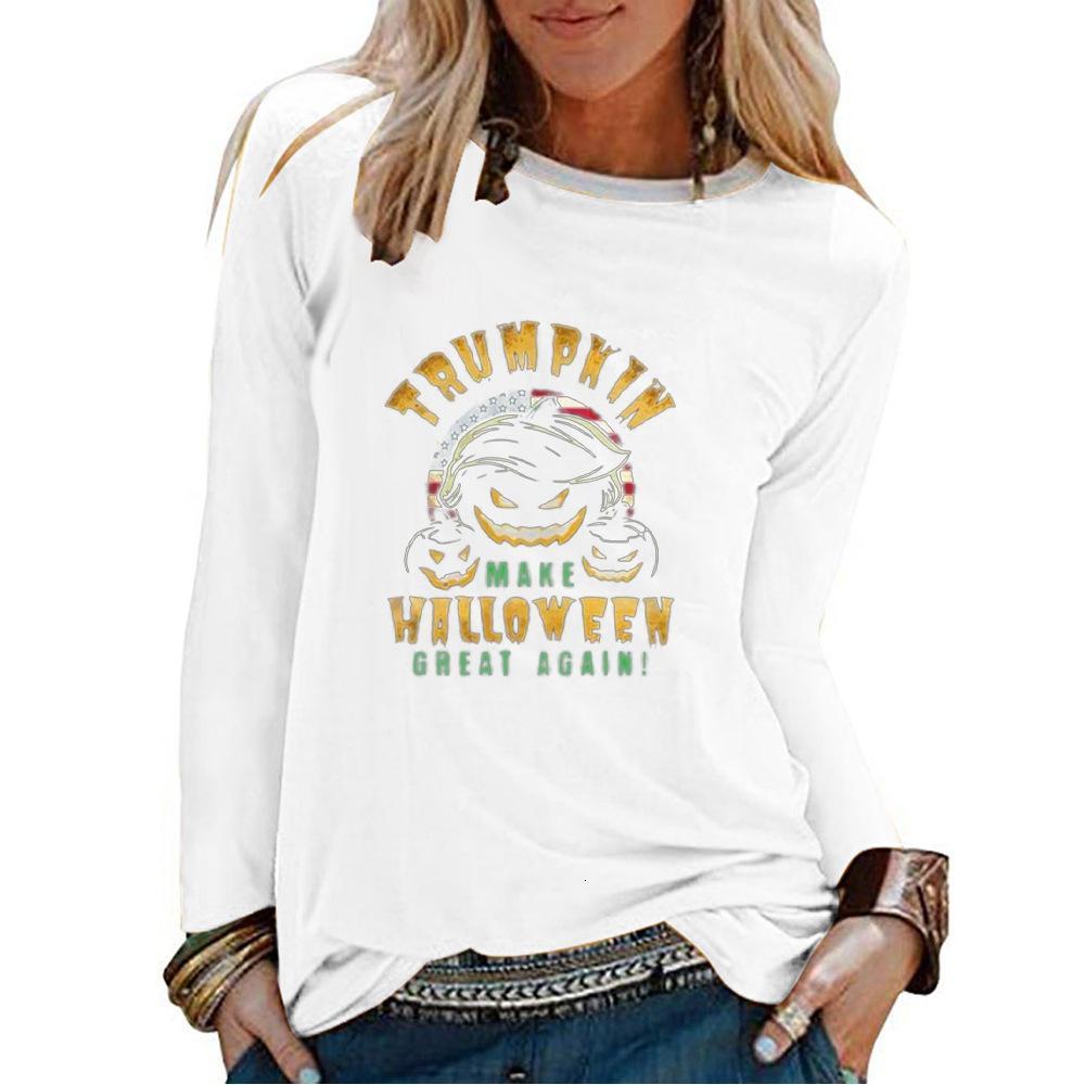 Camiseta de manga larga de camiseta de la camiseta impresa de la letra EE blanca