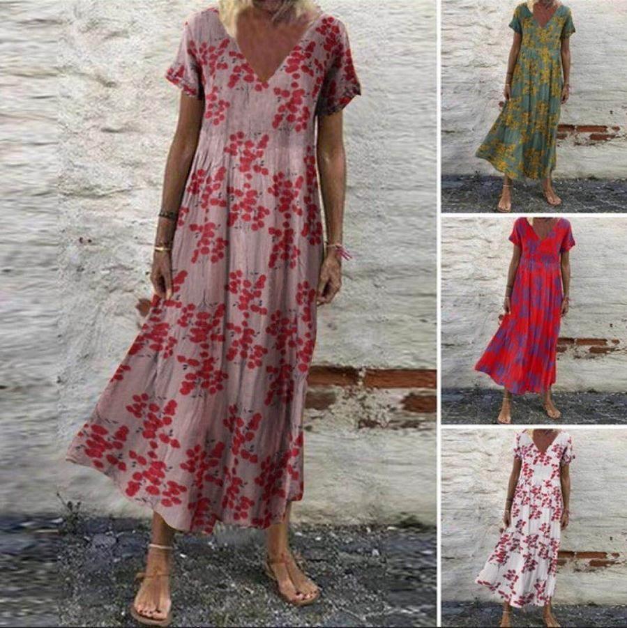 2021 Summer Short Sleeve V-neck Holiday Flower Loose Long Swing Dress