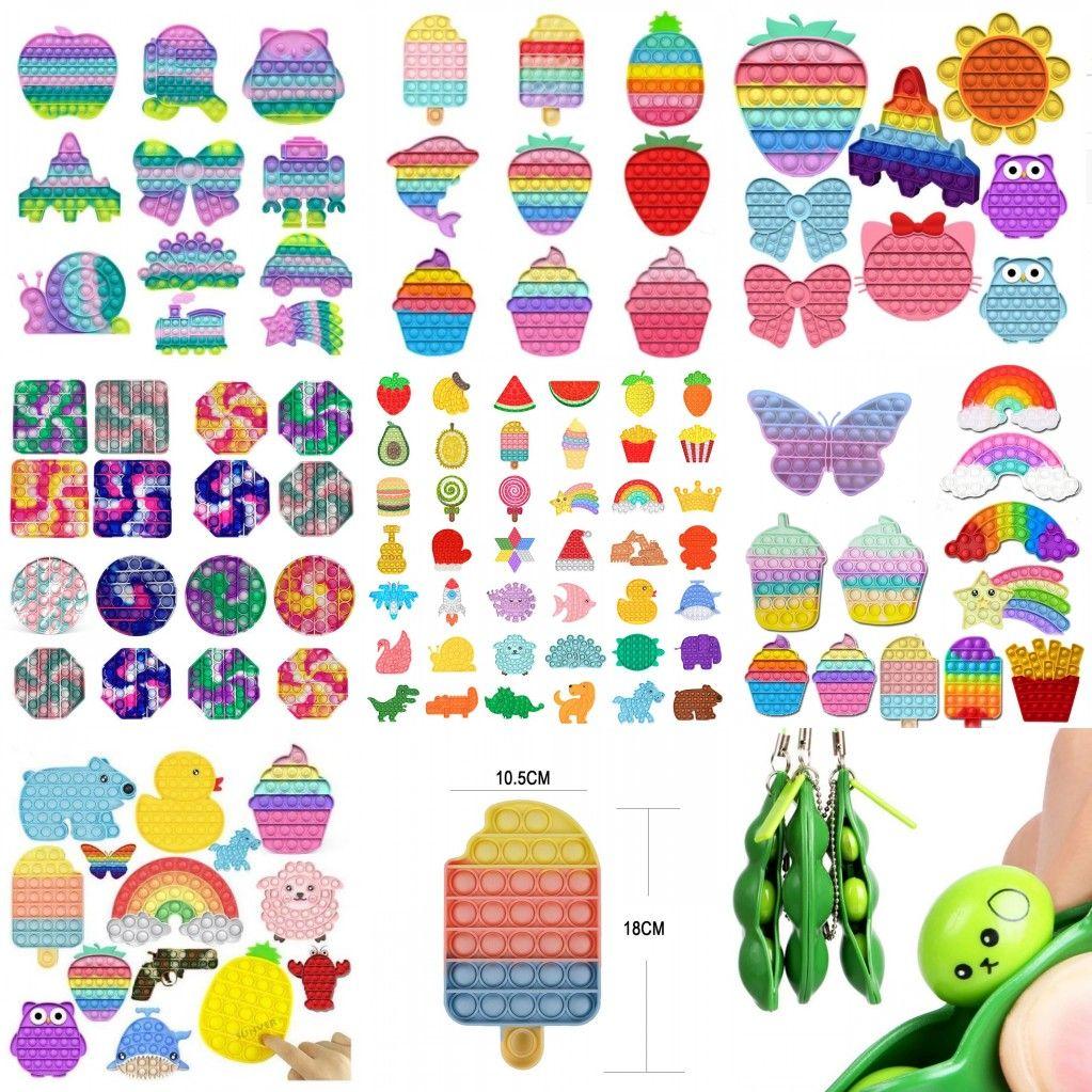 Tiktok Tie-Dye Rainbow Push Bubble Sensory Zappeln Spielzeug Einfache Grübchen Schlüsselanhänger Greifen Stress Relief Spielzeug für Kinder Geburtstag Weihnachten Geschenke