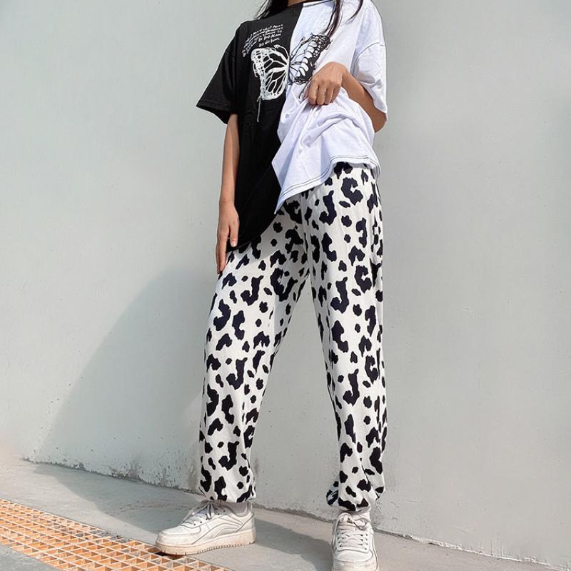 عارضة فضفاض حليب البقر المطبوعة السراويل النساء مرونة عالية الخصر السراويل السيدات فضفاض مستقيم sweatpants الخريف الكورية المرأة كابريس